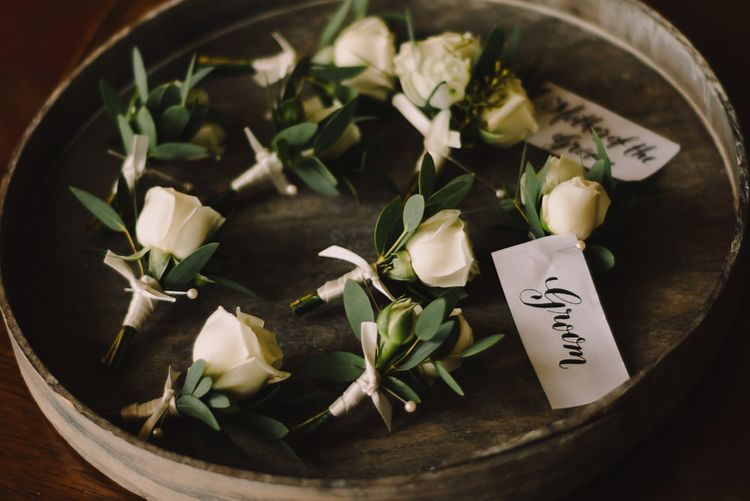 White Rose Buttonholes // Elegant Wedding Brympton House Somerset With Bride Wearing Inbal Dror And Groom In Black Tux By Alexander McQueen With Images From Modern Vintage Weddings