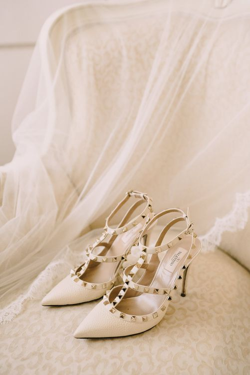 Valentino Rock Stud Wedding Shoes // Elegant Wedding Brympton House Somerset With Bride Wearing Inbal Dror And Groom In Black Tux By Alexander McQueen With Images From Modern Vintage Weddings