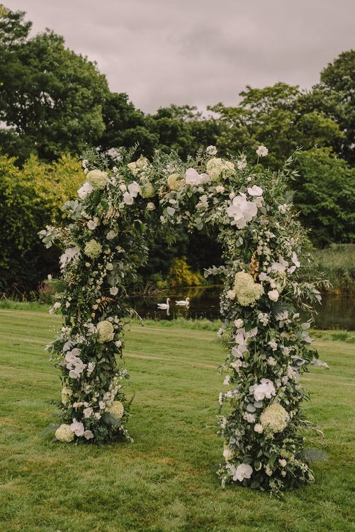Floral Arch For Wedding Ceremony // Elegant Wedding Brympton House Somerset With Bride Wearing Inbal Dror And Groom In Black Tux By Alexander McQueen With Images From Modern Vintage Weddings