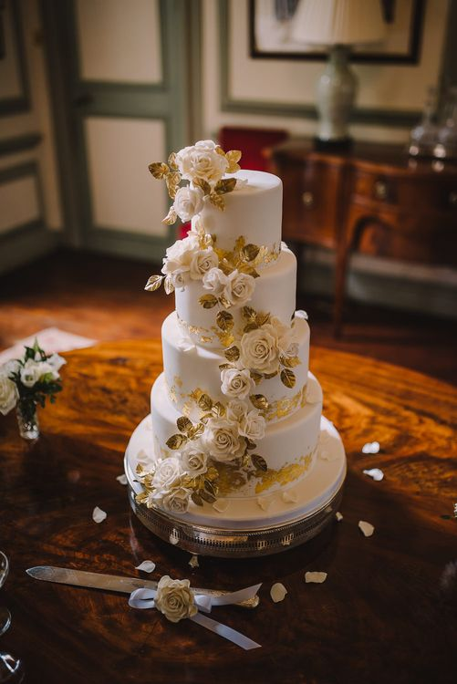 Classic White Iced Wedding Cake With Flowers // Elegant Wedding Brympton House Somerset With Bride Wearing Inbal Dror And Groom In Black Tux By Alexander McQueen With Images From Modern Vintage Weddings