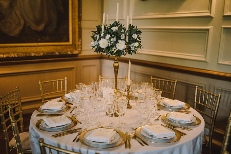 White & Gold Elegant Wedding Decor // Elegant Wedding Brympton House Somerset With Bride Wearing Inbal Dror And Groom In Black Tux By Alexander McQueen With Images From Modern Vintage Weddings