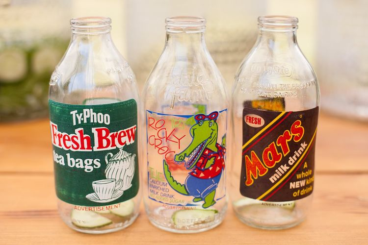 Milk Bottles with Stickers