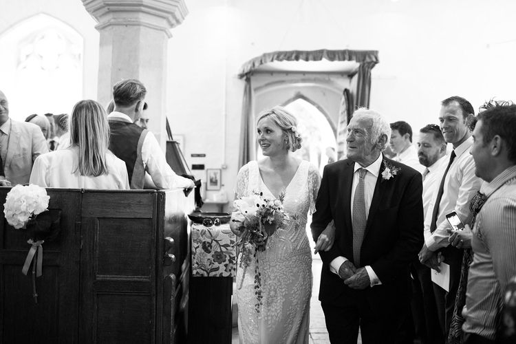 Seven Months Pregnant Bridal Entrance in Eliza Jane Howell Lucille Gown
