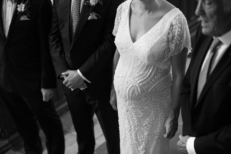 Seven Months Pregnant Bride in Eliza Jane Howell Lucille Gown