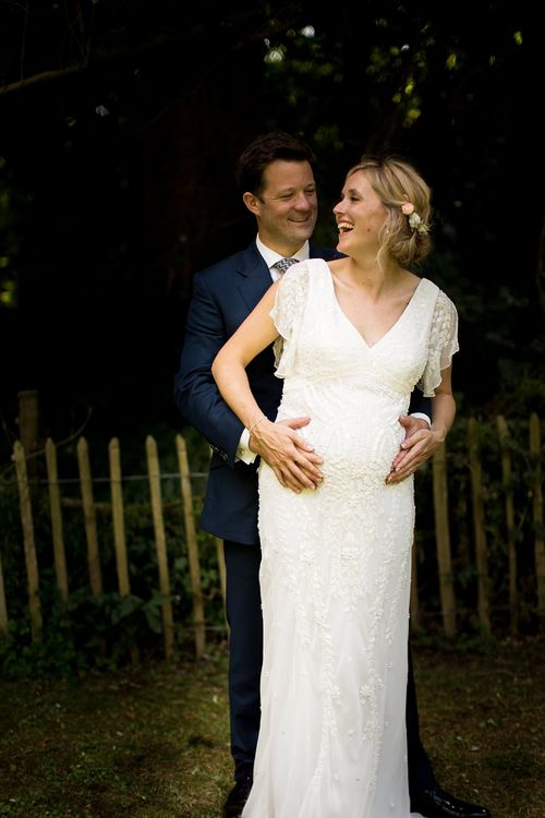 Seven Months Pregnant Bride in Eliza Jane Howell Lucille Gown & Groom in Cad & The Dandy Suit