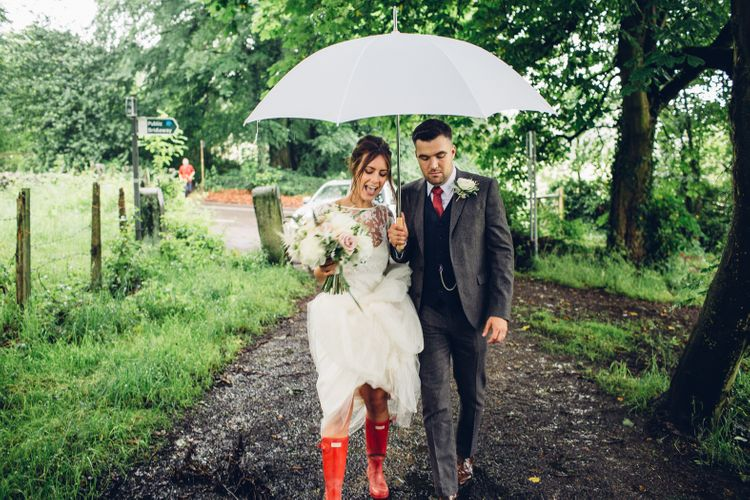 Bride in Hunter Wellies