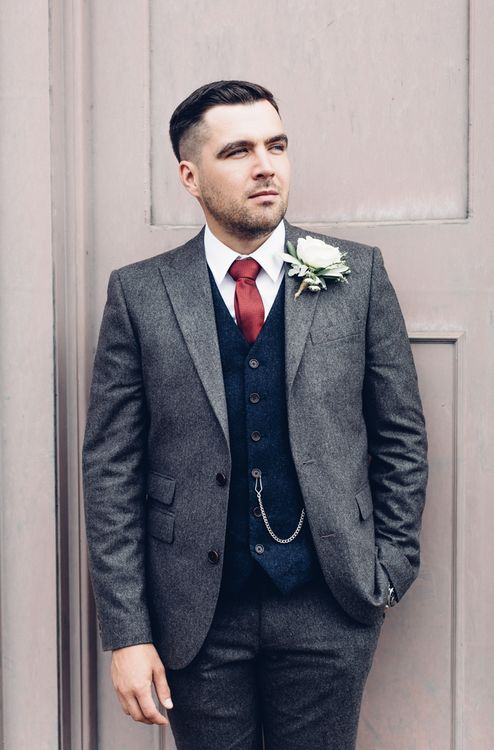 Groom in Grey Next Suit