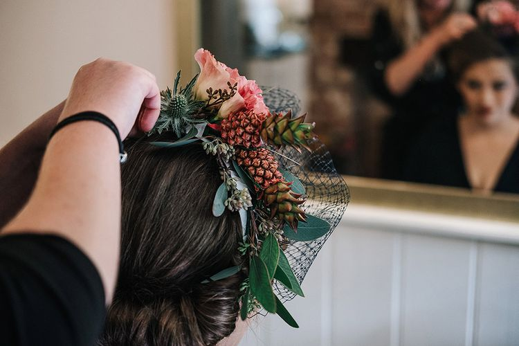 Flower Crown For Bridesmaids With Mini Pineapples
