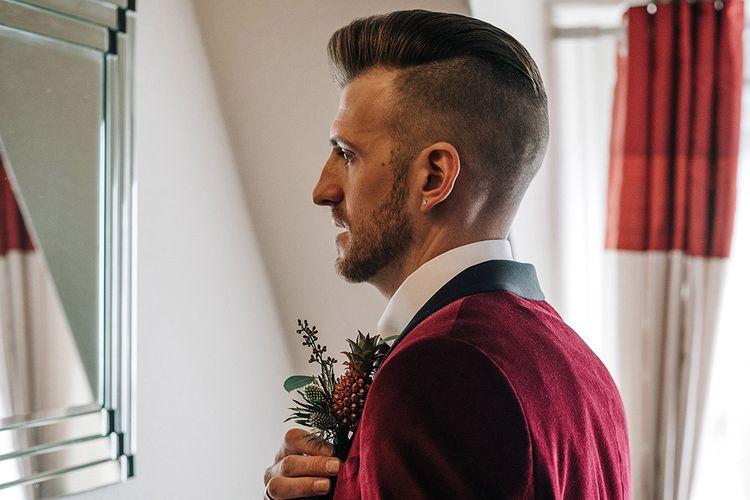 Groom in Burgundy Velvet Jacket