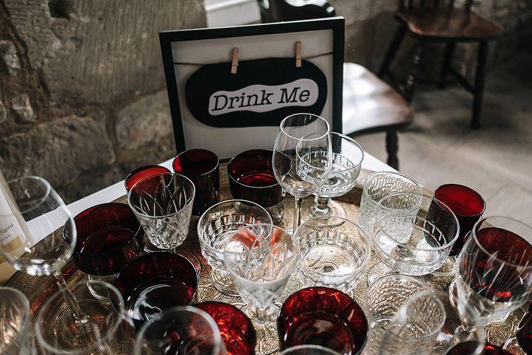 Wedding Drinks In Vintage Glassware
