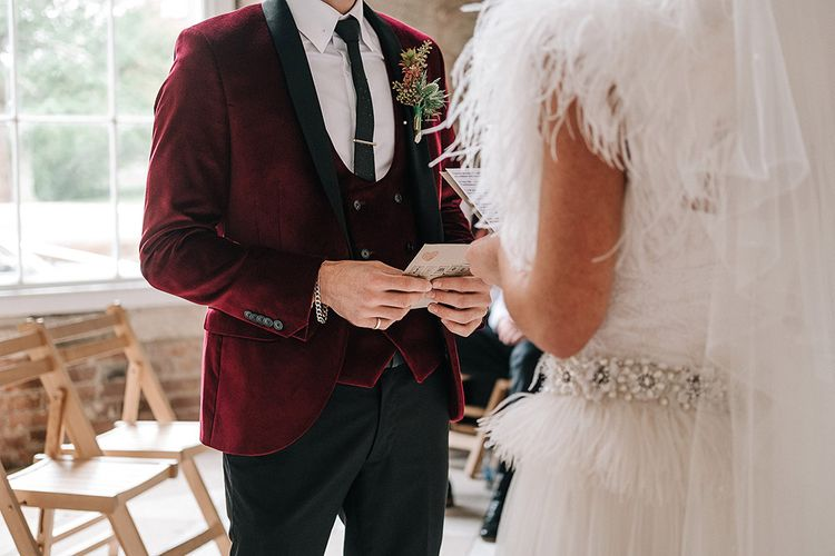 Bride In Feather Wedding Dress