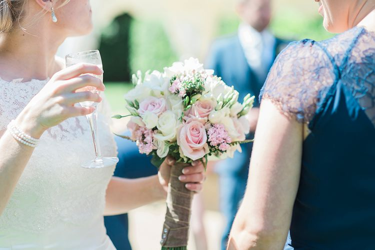Structured Bridal Bouquet With Pink Roses