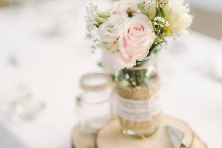 Jam Jar Flowers For Wedding With Hessian And Lace
