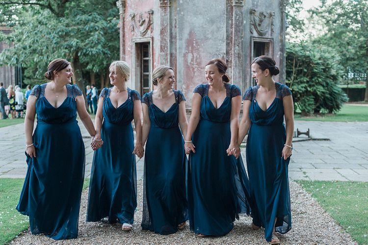 Bridesmaids In Navy ASOS Dresses