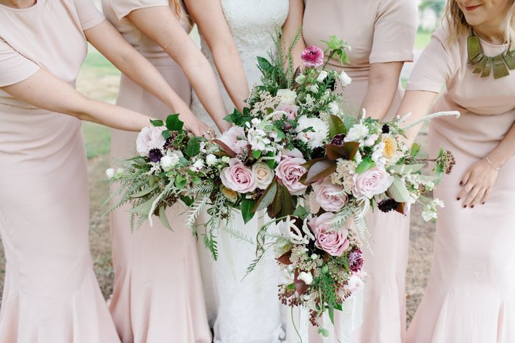 Foliage Filled Wedding At Colstoun East Lothian With Polytunnel Ceremony And Bridesmaids In Dusky Pink & Images From Caro Weiss Photography