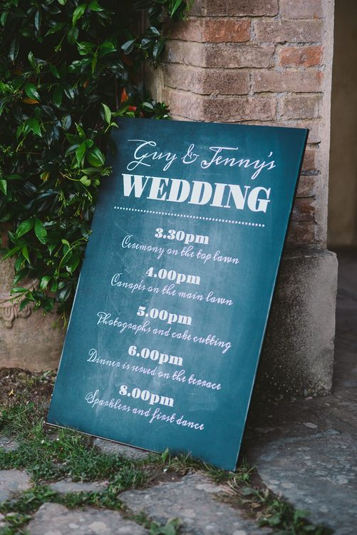 Chalkboard Order of The Day Wedding Sign