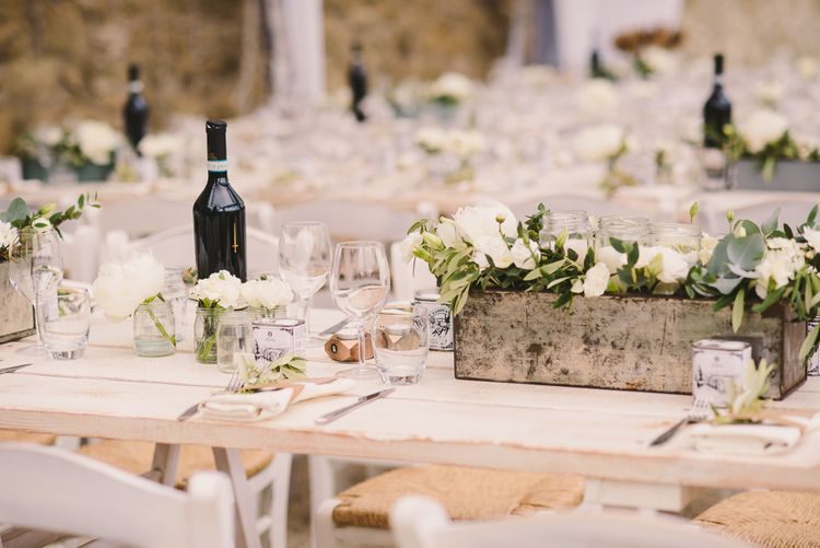 Rustic Crate Centrepiece with White Flowers