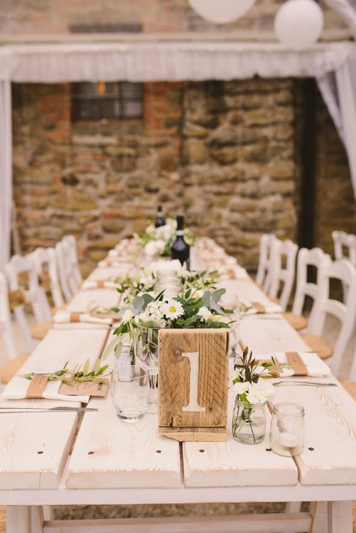 Trestle Table with Wooden Table Number