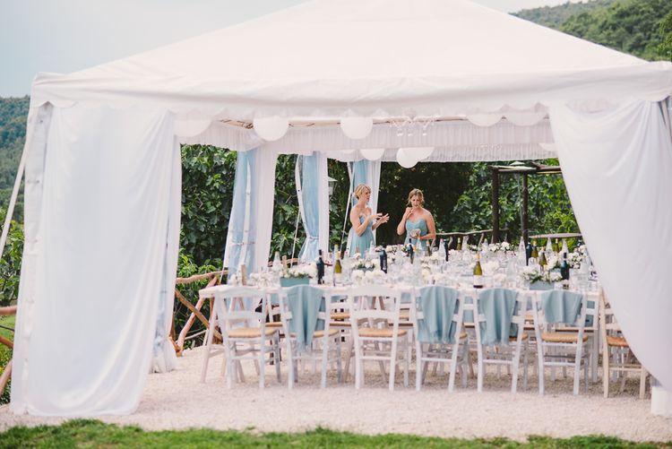White & Mint Green Outdoor Wedding Reception