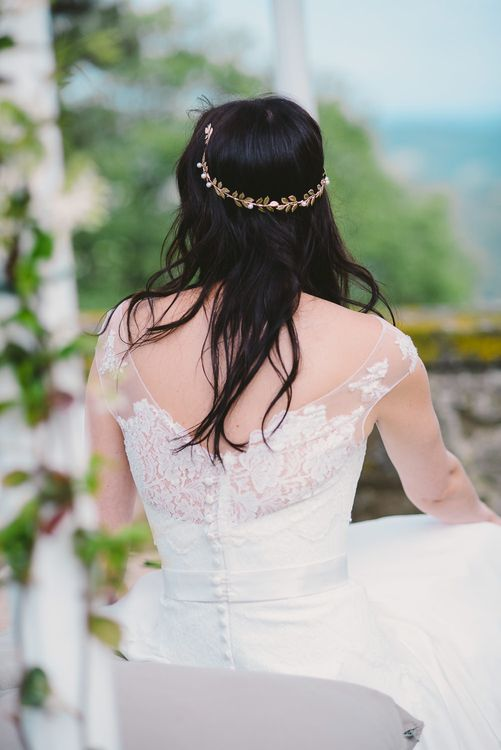Bride in Naomi Neoh Gown with Hair Vine Accessory
