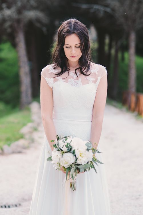 Bride in Naomi Neoh Gown & White Bouquet