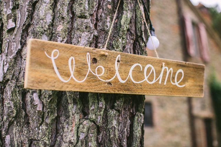Wood Welcome Wedding Sign