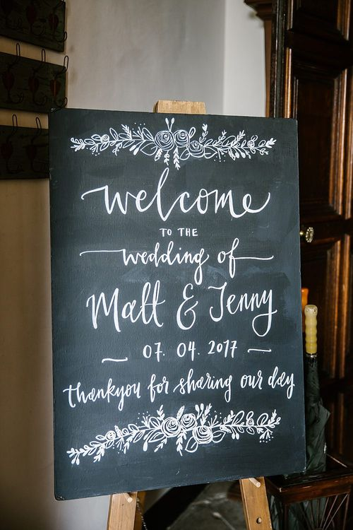 Chalkboard Wedding Sign | Spring Wedding at Hengrave Hall | Katherine Ashdown Photography