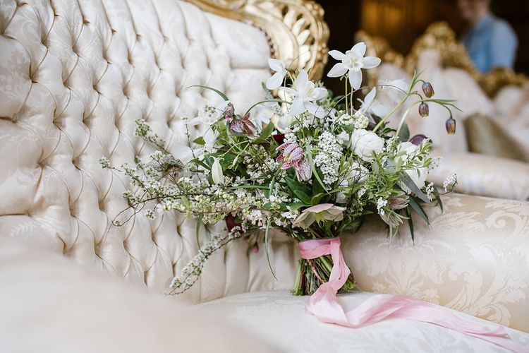 Romantic Bridal Bouquet with Pink Ribbon | Spring Wedding at Hengrave Hall | Katherine Ashdown Photography