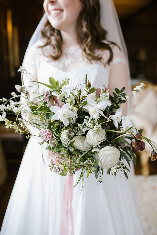 Organic Bridal Bouquet with Ribbons | Bride in Naomi Neoh Fleur Gown | Spring Wedding at Hengrave Hall | Katherine Ashdown Photography
