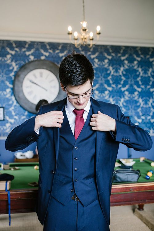 Groom in Moss Bros Suit | Spring Wedding at Hengrave Hall | Katherine Ashdown Photography