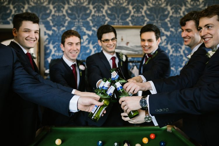 Groomsmen in Moss Bros Suits | Spring Wedding at Hengrave Hall | Katherine Ashdown Photography
