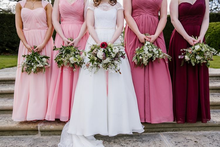 Bouquets | Bride in Naomi Neoh Fleur Gown | Bridesmaids in Pink For Her and For Him Dresses | Spring Wedding at Hengrave Hall | Katherine Ashdown Photography