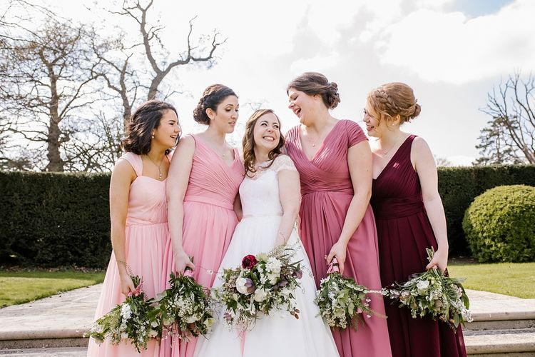 Bride in Naomi Neoh Fleur Gown | Bridesmaids in Pink For Her and For Him Dresses | Spring Wedding at Hengrave Hall | Katherine Ashdown Photography