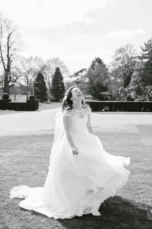Bride in Naomi Neoh Fleur Gown | Spring Wedding at Hengrave Hall | Katherine Ashdown Photography