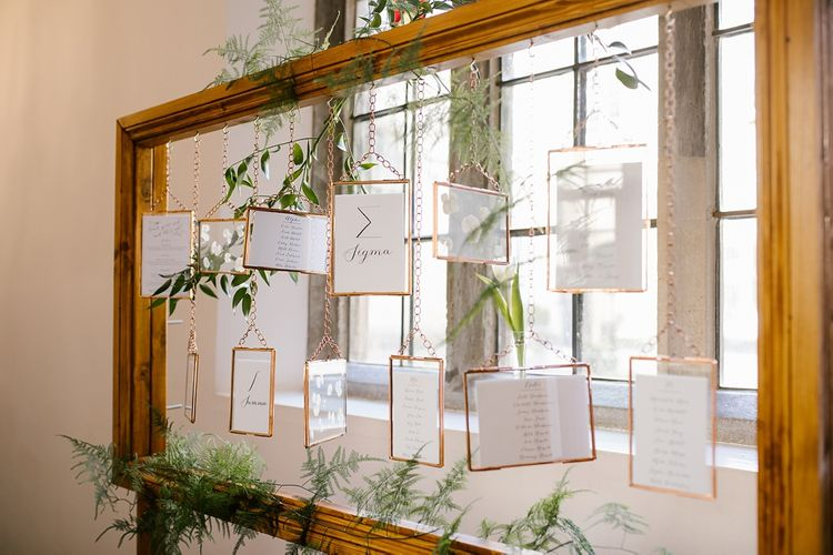 Hanging Frame Table Plan | Spring Wedding at Hengrave Hall | Katherine Ashdown Photography