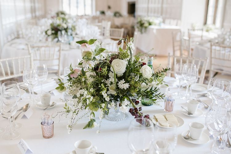 Elegant White & Green Floral Centrepiece | Spring Wedding at Hengrave Hall | Katherine Ashdown Photography