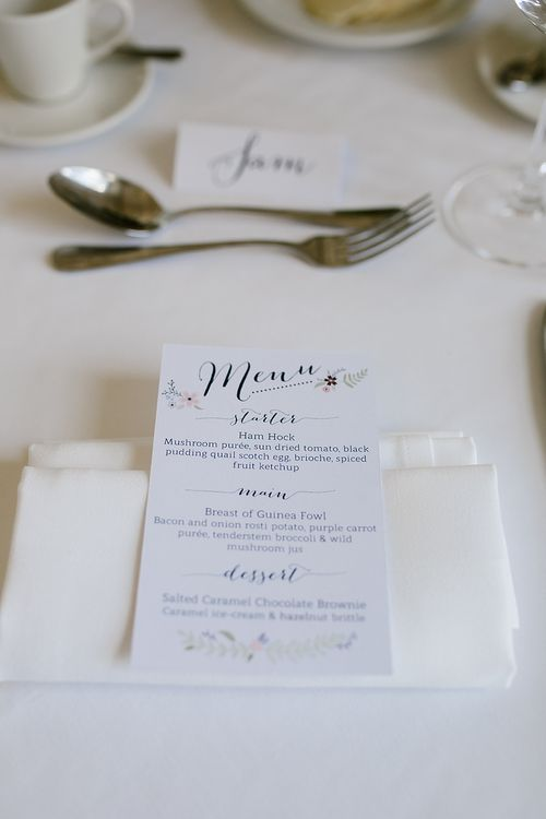 Menu Card | Wedding Stationery | Spring Wedding at Hengrave Hall | Katherine Ashdown Photography