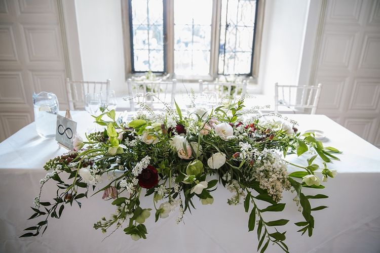 Top Table Floral Arrangement | Spring Wedding at Hengrave Hall | Katherine Ashdown Photography