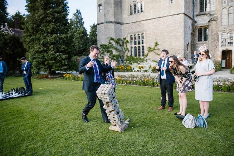Giant Jenga | Lawn Games | Spring Wedding at Hengrave Hall | Katherine Ashdown Photography