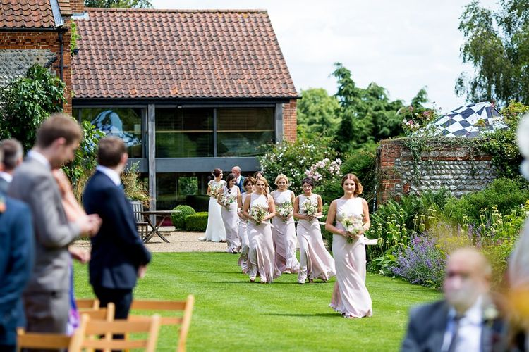 Outdoor Wedding Ceremony Bridesmaid Entrance in Pink 'Taylor' Ghost Dresses