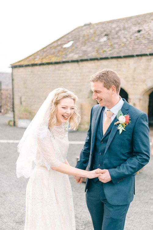Healey Barn Winter Wedding With Bridesmaids In Navy With Bright Florals & Gold Accents With Images By Sarah Jane Ethan Photography