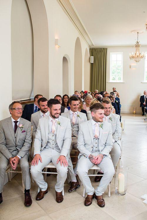 Iscoyd Park Wedding Ceremony with Groomsmen in Next Suits
