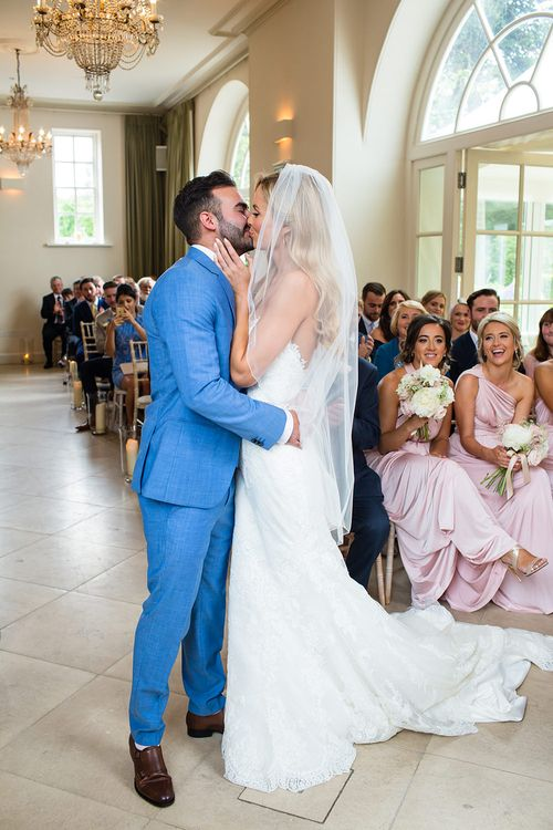 Iscoyd Park Wedding Ceremony with Bride in Pronovias Wedding Dress & Groom in Blue Hugo Boss Suit