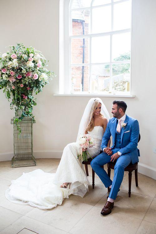 Iscoyd Park Iscoyd Park Wedding Ceremony with Bride in Pronovias Wedding Dress & Groom in Blue Hugo Boss Suit