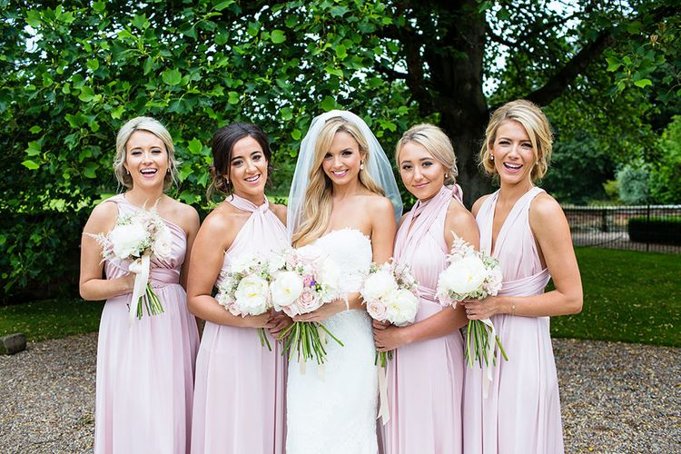 Bridesmaids in Blush Pink Multiway Dresses