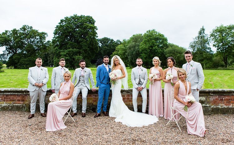 Elegant Wedding Party in Pink Multiway Dresses & Next Suits