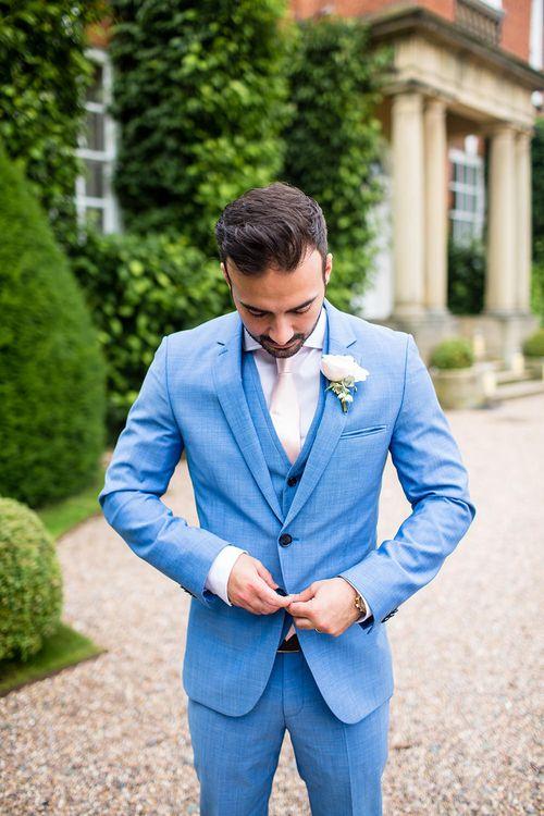 Groom in Blue Hugo Boss Suit