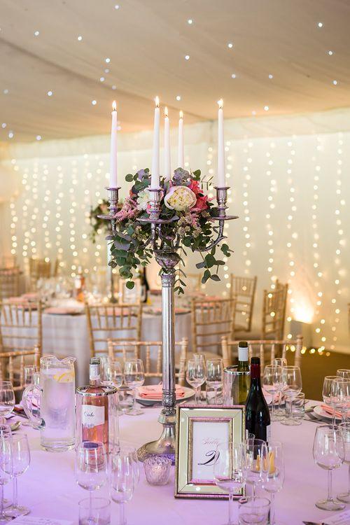 Blush Marquee Reception with Fairy Lights & Candelabra Centrepiece