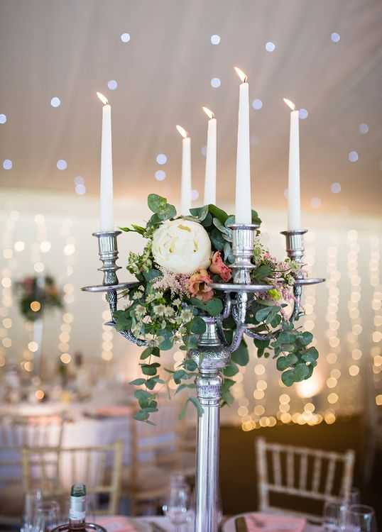 Marquee with Fairy Lights & Candelabra & Floral Centrepieces