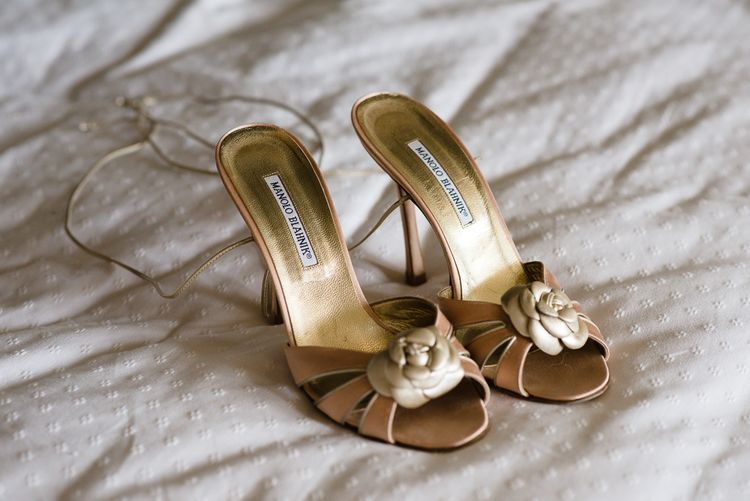Vintage Manolo Wedding Shoes // Woodstock Festival Inspired Wedding With Bespoke Dress And Floral Bridesmaids Dresses At Sandon Hall Images By Emma Hare Photography